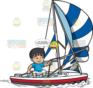 A Boy Confidently Sailing His Boat. A boy with black hair, wearing a sky blue shirt, white shorts, smiles while sailing his white with red and gray boat, striped white with blue sail and a rope that he is controlling