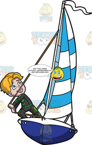 An Active Boy Maneuvering The Sail Of His Boat. A boy with blonde hair, wearing a black with green wetsuit, smiles while controlling the striped blue and white sail of his blue and white boat