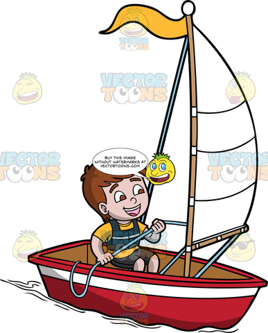 A Charming Boy Sailing A Boat. A boy with brown hair, wearing a yellow shirt, black shorts, vest, smiles while sitting in a red and white boat, with a white sail and yellow flag