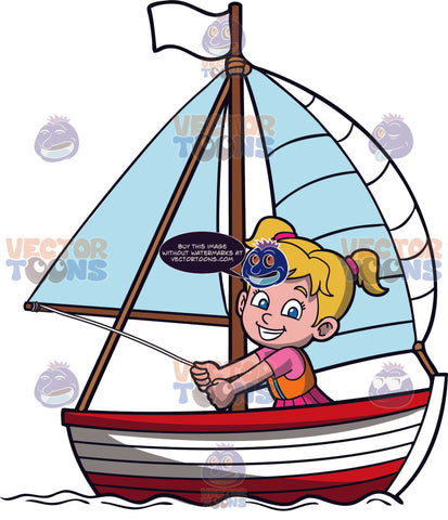 A Cute Girl Sailing A Boat. A girl with blonde hair in pigtails, wearing a pink dress, orange life vest, grins while sitting in a red and white boat, with a white flag and sail that she is pulling with a white rope