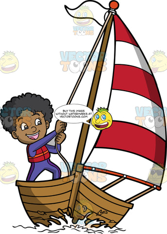 A Happy Black Girl Sailing Her Boat. A black girl with curly hair, wearing a purple wetsuit, red with orange life vest, smiles while pulling the rope of the striped red and white sail of a wooden boat, and white flag that she is sailing