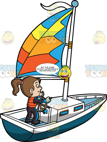 A Girl Maneuvering A Sailboat. A girl with brown hair in a ponytail, wearing a black and blue jacket, pants, orange vest, smiles while maneuvering a dark teal with white sailboat, with a blue, yellow, and two tone orange sail