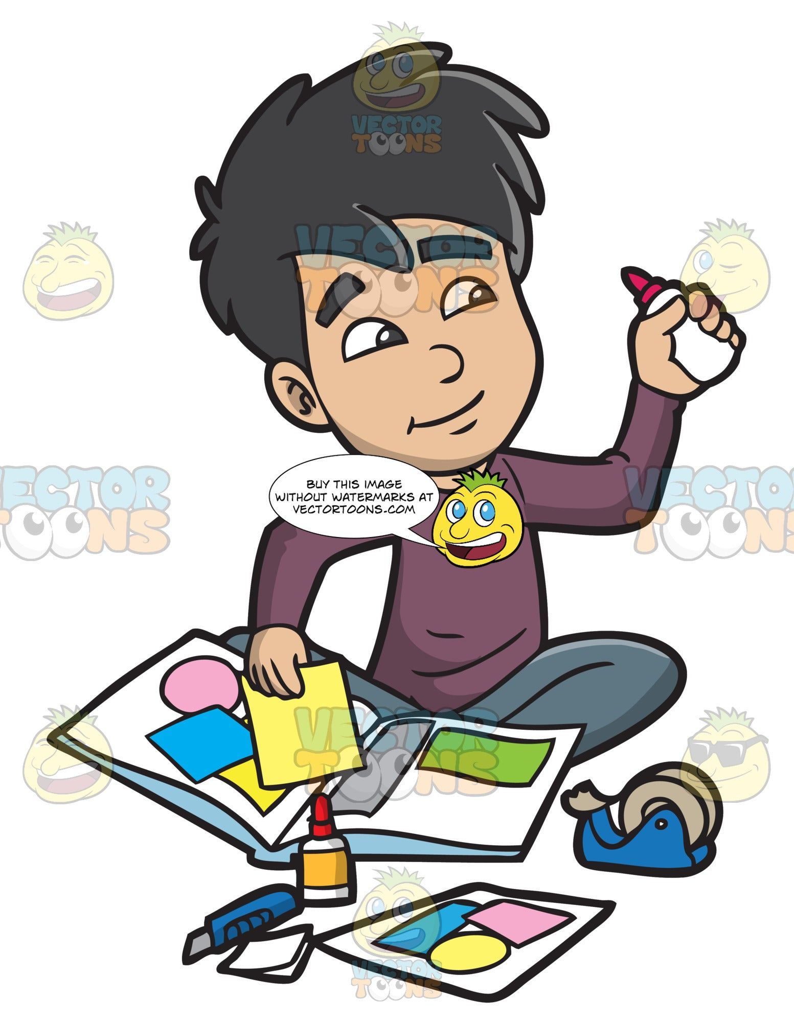 An Asian Boy Gluing Colored Sheets To His Scrapbook