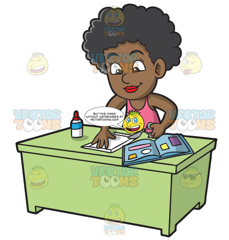 A Black Girl Cutting Paper For Her Scrapbook