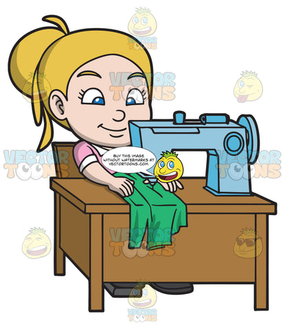A Girl Sewing A New Blouse