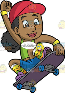 A Black Girl Doing A Trick On Her Skateboard. A black girl wearing blue shorts, a green tank top, rainbow socks, purple shoes and a red hat, holds the nose of her skateboard as she bends her knees and nails a jump