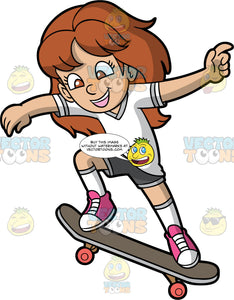 A Girl About To Drop In On A Ramp On Her Skateboard. A girl with long brown hair and brown eyes, wearing dark grey shorts, a white t-shirt, white socks and pink high top shoes, smiles as she keeps her back foot on the back end of her board and slams her front foot down on the nose of the board so she can drop in on a ramp