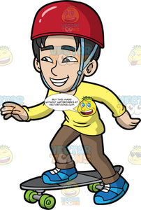 A Boy Pushing Off To Get Speed On His Skateboard. An Asian boy wearing brown pants, a yellow long sleeve shirt, blue shoes, and a red helmet, pushes off with his left foot, while his right foot stays firmly planted on his grey skateboard with green wheels