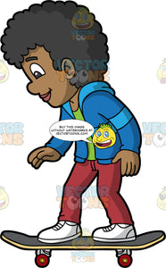 A Black Boy Trying Out His New Skateboard. A black boy wearing red pants, blue hooded sweatshirt over a green t-shirt, and white sneakers, stands on his new skateboard and tries it out for the first time