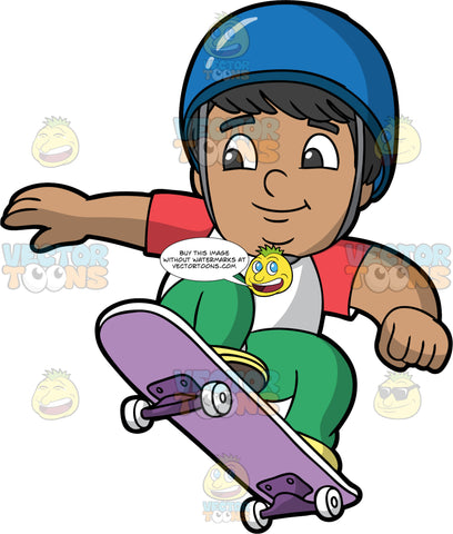A Chubby Latin Boy Doing A Jump On His Skateboard. Acute Latin boy with black hair and dark brown eyes, wearing green pants, white and red t-shirt, and blue helmet, smiles as he jumps in the air on his purple skateboard