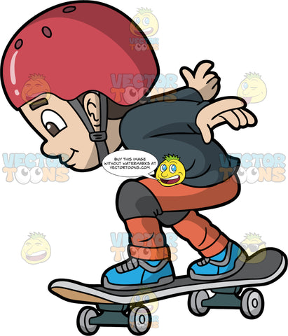 A Boy Gaining Speed On His Skateboard. A boy with brown hair and eyes, wearing orange pants, a black shirt, blue shoes, a red helmet, and knee pads, bends his knees as he prepares to go down a hill on his skateboard