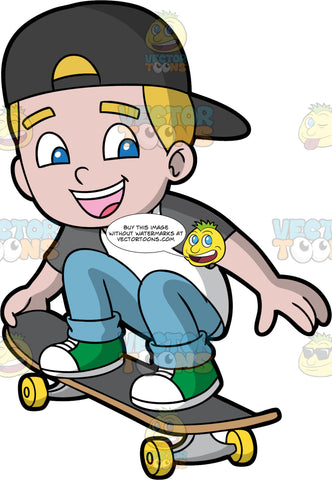 A Young Boy Playing Around On His Skataboard. A boy with blonde hair and blue eyes, wearing blue jeans, a grey and white t-shirt, green high top shoes and a black baseball cap worn backwards, crouches down on his skateboard and holds onto the back end getting ready to do a trick
