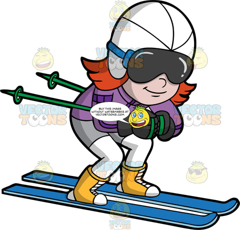A Girl Racing Down A Hill On Her Skis. A girl with red hair, wearing white snow pants, a purple jacket, yellow and white boots, black gloves, a white helmet, and dark gray goggles, tucks her ski poles under her arms and bends her knees as she races down a hill on her blue skis