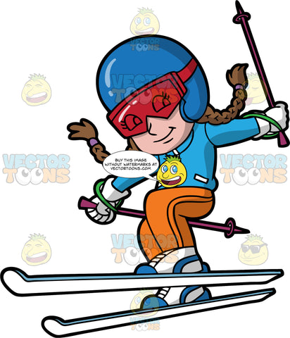 A Girl Enjoying A Day Of Skiing. A girl with brown hair tied in braids, wearing orange snow pants, a blue ski jacket, white and blue boots, white gloves, a blue helmet, and red goggles, lifting one ski up a bit as she prepares to make a turn on the ski hill