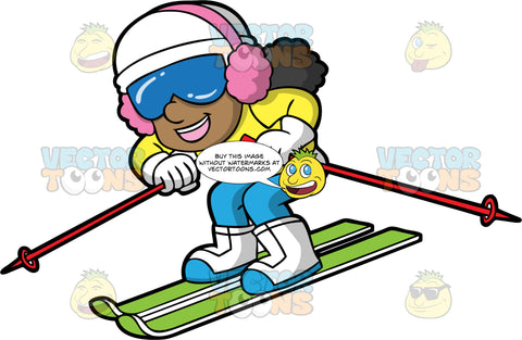 A Happy Girl Having Fun Downhill Skiing. A black girl wearing blue ski pants, a yellow snow jacket, white and blue boots, a white hat, pink ear muffs, and blue goggles, smiles as she races down a hill on her green skiis