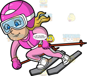 A Girl Competing In A Ski Race. A girl wearing a pink ski suit, white boots, a pink helmet, and clear goggles, going super fast down a ski hill during a race