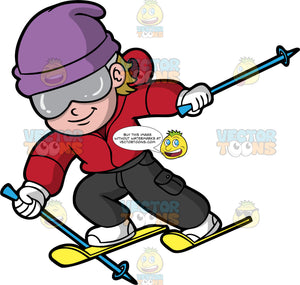 A Boy Downhill Skiing. A boy wearing black snow pants, a red jacket, white boots, a purple hat, white gloves, and gray goggles, uses his blue ski poles to propel himself down a hill on his yellow skis