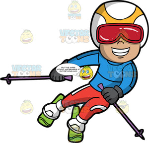 A Boy Having Fun Skiing. A boy wearing red snow pants, a blue ski jacket, white boots, gray gloves, a white and yellow helmet, and red ski goggles, smiles as he glides down a hill on his green skis
