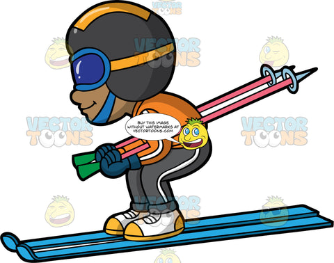 A Boy Going Fast Down A Ski Hill. A black boy wearing gray snow pants, an orange ski jacket, white and yellow boots, blue gloves, a dark gray and yellow helmet, and blue goggles, tucks his ski poles under his arms and bends his knees as he races down the hill on his blue skis