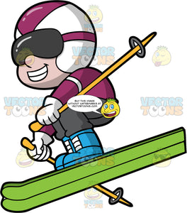 A Happy Boy Having Fun Downhill Skiing. A boy wearing dark gray ski pant, a purple jacket, blue boots, a white and purple helmet, white gloves, and dark gray goggles, smiles as he flies down a ski hill on his green skis