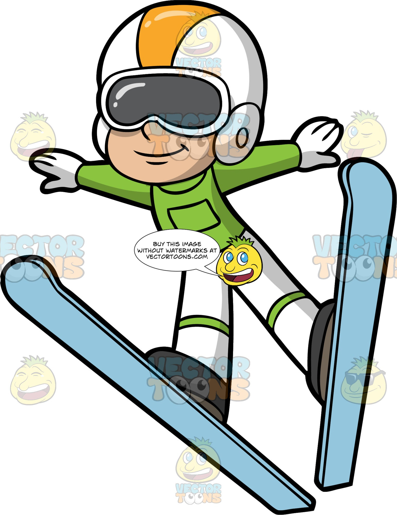 A Boy Doing A Ski Jump. A boy wearing white snow pants, a green ski jacket, white gloves, a white and yellow helmet and gray goggles, lifts off into the air as he executes a ski jump