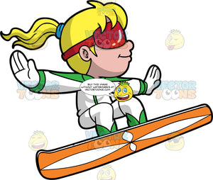 A Girl Getting Some Air On Her Snowboard. A girl with blonde hair tied in a ponytail, wearing a green and white snow suit, white gloves, and red goggles, launches into the air on her orange and white snowboard