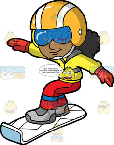 A Girl Having Fun Snowboarding. A black girl wearing red snow pants, a yellow jacket, gray boots, red gloves, blue goggles, and a yellow and white helmet, smiles as she glides down a hill on her white snowboard