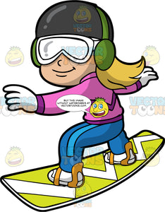 A Girl Learning How To Snowboard. A girl wearing blue snow pants, a pink jacket, white gloves, white boots, a dark gray helmet, green ear muffs, and white goggles, standing on her lime green snowboard with her arms out to the side and glides down the snow