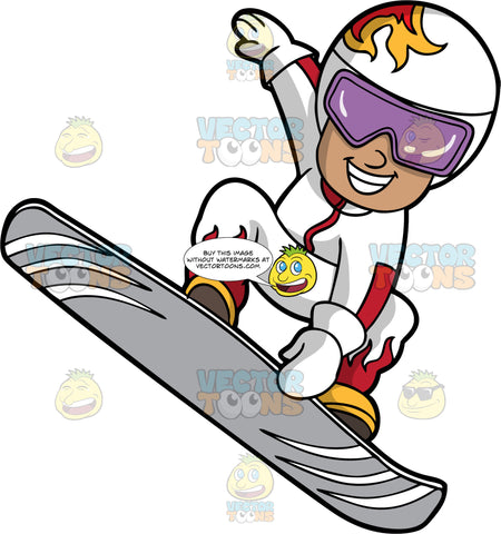 A Boy Doing A Trick On His Snowboard. A boy wearing a white snow suit with red flames on it, yellow snowboard boots, white gloves, a white helmet with flames on it, and purple goggles, catching some air on his gray snowboard