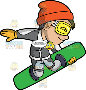A Boy Catching Some Air On His Snowbaord. A boy with black hair, wearing gray snow pants, a gray snowboard jacket, yellow gloves, an orange hat, and yellow goggles, holding onto his green snowboard with one hand and he launches into the air