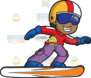 A Happy Black Boy Gliding On His Snowbaord. A black boy wearing purple now pants, a red snowboard jacket, blue snowboard boots, blue gloves, blue goggles, and a yellow, red, and white helmet, smiles as he glides along the snow on his snowboard