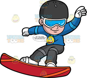 A Boy Having Fun Snowboarding. A boy wearing dark gray snow pants, a blue snowboard jacker, white snowboard boots, white gloves, a dark gray helmet, and blue goggles, racing down the hill on his red snowboard