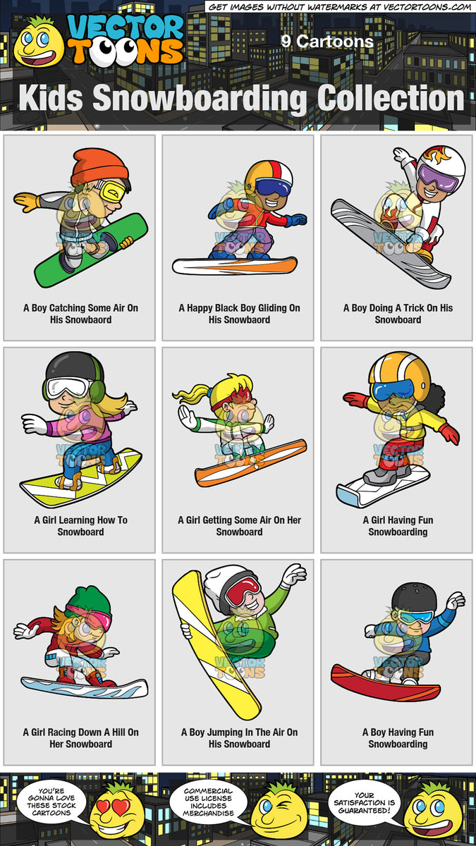 Kids Snowboarding Collection Clipart Cartoons By Vectortoons