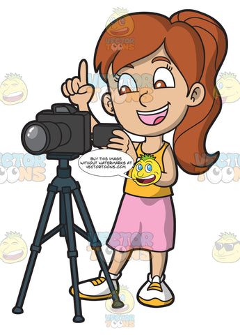 A Girl Taking Photographs With A Digital Camera