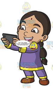 An Indian Girl Taking A Selfie