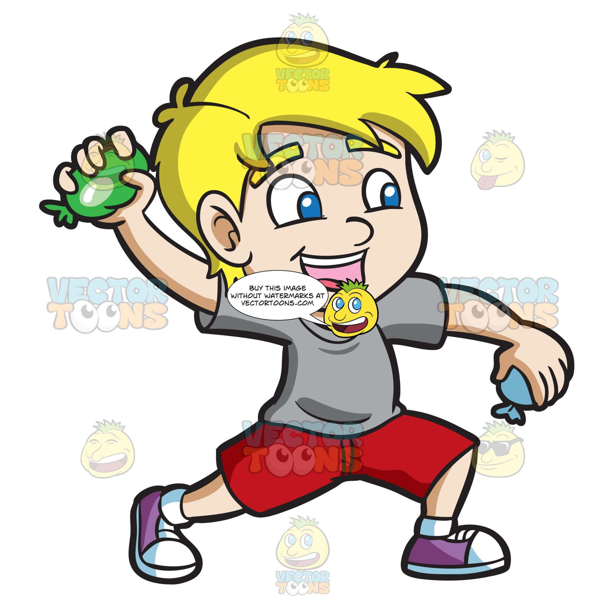 A Happy Boy Throwing Water Balloons Clipart Cartoons By Vectortoons