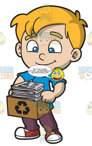 A Boy Carrying A Box Of Recycled Newspaper