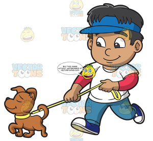A Boy Walking A Dog