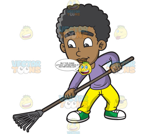 A Black Boy Using A Leaf Rake