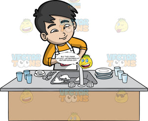 An Asian Boy Doing The Dishes. An Asian boy wearing an orange shirt and a white apron, washing dirty plates, glasses and cutlery that are in the kitchen sink