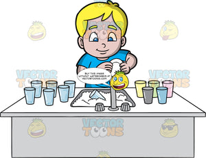 A Boy Washing Dishes. A blonde boy with blue eyes, wearing a blue shirt, standing behind a kitchen sink filled with soapy water and washing a plate in his hands