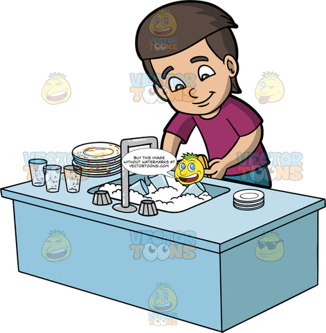 A Boy Washing Dirty Dishes. A boy with brown hair and eyes, wearing blue pants and a purple shirt, washing a stack of dirty dishes and glasses in the kitchen sink