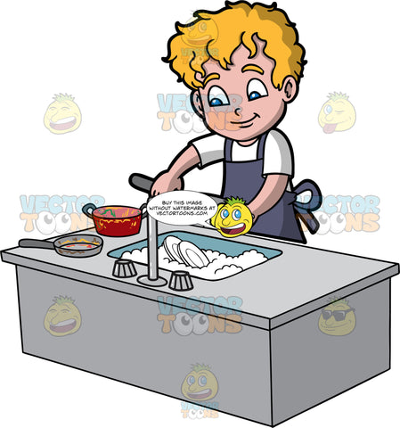 A Boy Washing Pots And Pans. A boy with blonde hair and blue eyes, wearing a white shirt and dark gray apron, washing a dirty pot with a sponge