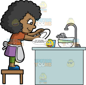 A Cute Black Girl Washing A Stack Of Dirty Dishes. A black girl wearing a purple skirt, green leggings, a brown shirt, blue shoes, and gray apron, stands on a stool behind the kitchen sink and washes some dirty plates, bowls, cutlery and glasses