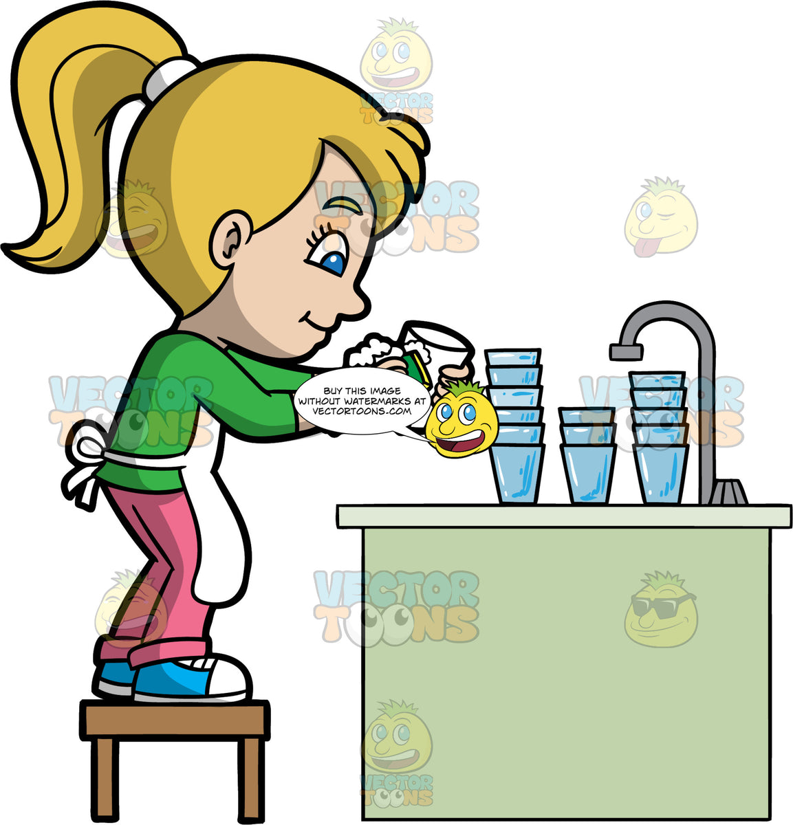 A Young Girl Doing The Dishes - Clipart Cartoons By ... (1153 x 1200 Pixel)