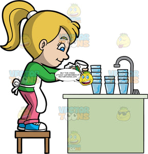 A Young Girl Doing The Dishes. A girl with blonde hair tied up in a ponytail, wearing pink pants, a green shirt, blue sneakers, and a white apron, standing on a stool and washing a stack of dirty glasses