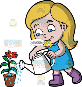 A little girl watering a red flower. A blonde girl with blue eyes, wearing a blue dress and purple rubber boots, uses a white watering can to water a potted red flower
