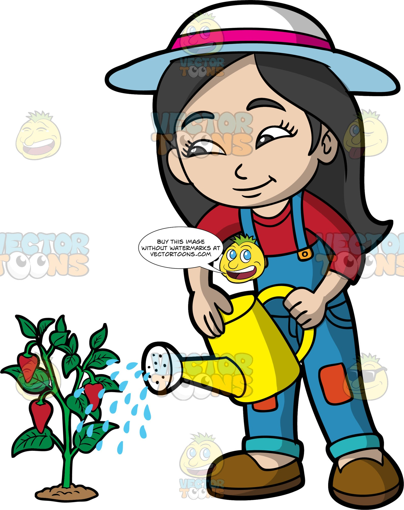 An Asian girl watering a strawberry plant. An Asian girl with long black hair, wearing blue overalls, a red shirt, brown shoes, and a sun hat, using a yellow watering can to water a strawberry plant
