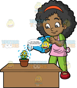 A cute black girl watering a yellow flower. A black girl wearing green pants, a green shirt, red shoes, and a pink apron, uses a blue watering can to water a potted yellow flower on a brown table