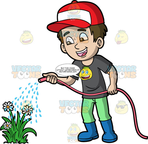 A boy watering some flowers. A boy with brown hair and eyes, wearing green pants, a dark gray t-shirt, blue rubber boots, and a red and white baseball cap, using a hose to water some white flowers